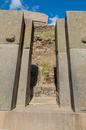 inca ruins: Door in a wall at Inca ruins of Ollantaytambo, Sacred Valley of Incas, Peru Stock Photo