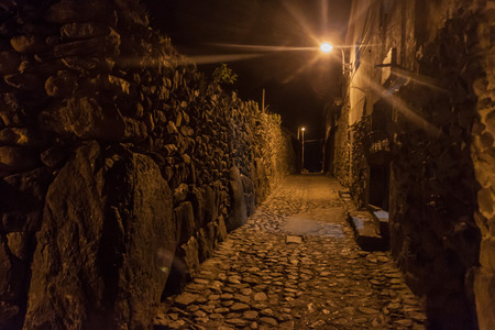 sacred valley of the incas: Night view of ancient streets of Ollantaytambo, Sacred Valley of Incas, Peru