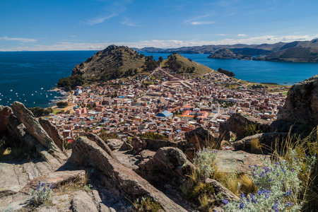 Aerial view of Copacabana, Bolivia. Stock Photo