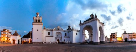 built in: Cathedral of Copacabana, built in moorish style, Bolivia. Stock Photo