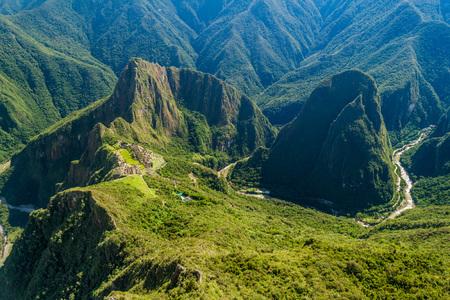 urubamba valley: Aerial view of Machu Picchu ruins and Urubamba valley from Machu Picchu mountain, Peru