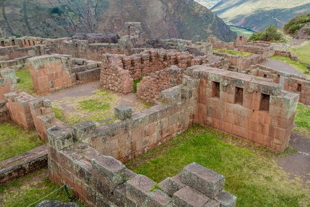 pisaq: Ancient Incas ruins near Pisac village, Sacred Valley of Incas, Peru Stock Photo