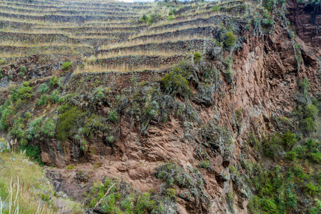 pisac: Ancient Incas agricultural terraces near Pisac village, Peru Stock Photo