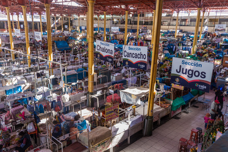central market: AREQUIPA, PERU - MAY 26, 2015: Interior of central market in Arequipa, Peru.