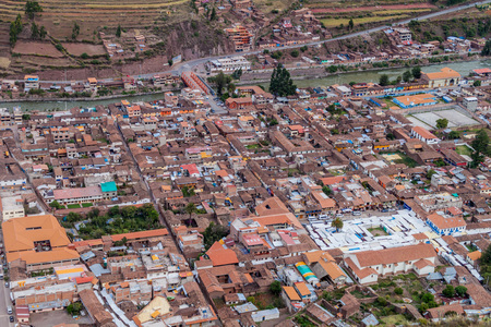 sacred valley of the incas: Aerial view of Pisac, Sacred Valley of Incas, Peru