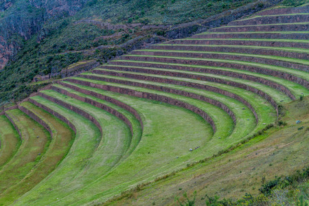 Inca agricultural terraces in Pisac, Sacred Valley, Peru Stock Photo