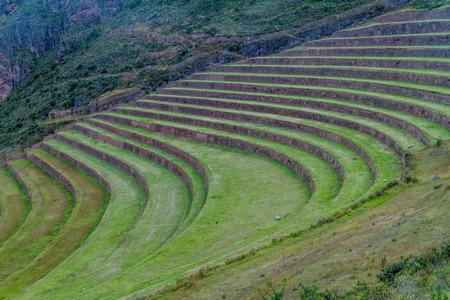 pisaq: Inca agricultural terraces in Pisac, Sacred Valley, Peru Stock Photo