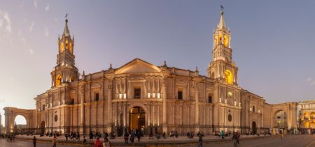 colonial church: AREQUIPA, PERU - MAY 26, 2015: Cathedral at Plaza de Armas square in Arequipa, Peru.