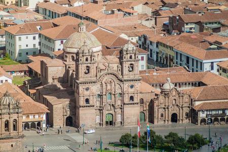la compania: Aerial view of La Compania de Jesus church in Cuzco, Peru Stock Photo