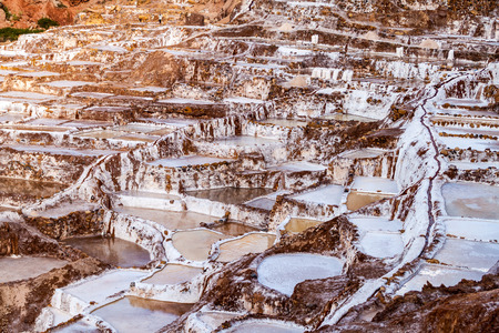 extraction: Salt extraction pans (Salinas) in Sacred Valley of Incas, Peru Stock Photo