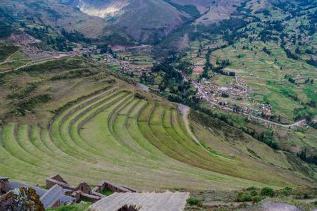 Ancient Incas agricultural terraces near Pisac village, Peru Stock Photo