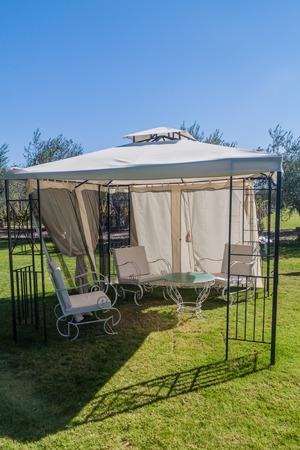 CHACRAS DE CORIA, ARGENTINA - AUG 1, 2015: Garden of winery Altavista in Chacras de Coria village, near Mendoza, Argentina