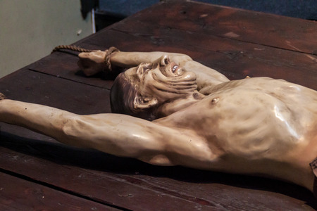 jailed: LIMA, PERU - JUNE 5, 2015: Figurine of a tortured victim in Museo de la Inquisicion (Inquisition Museum ) in Lima, Peru. Editorial