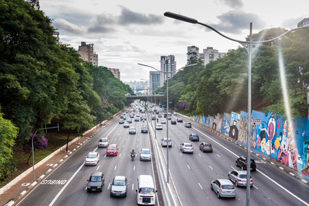 SAO PAULO, BRAZIL - FEBRUARY 2, 2015: Traffic on Corredor Norte-Sul  in Sao Paulo, Brazil Stock Photo