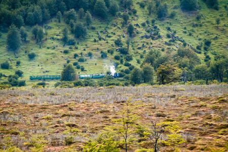 tierra del fuego: Tourist steam train in National Park Tierra del Fuego, Argentina