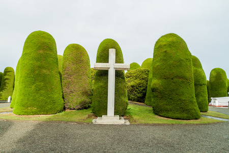 Tombs and graves at a cemetery in Punta Arenas, Chile. Stock Photo