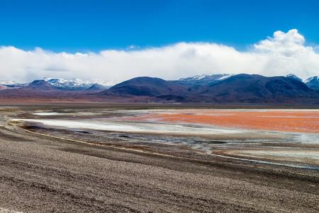 avaroa: Laguna Colorada lake on bolivian Altiplano