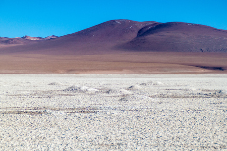 Borax is being mined from Salar de Chalviri salt flat in Bolivia Stock Photo