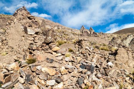 Le rovine della città mineraria Pueblo Fantasma, sud-ovest della Bolivia Archivio Fotografico