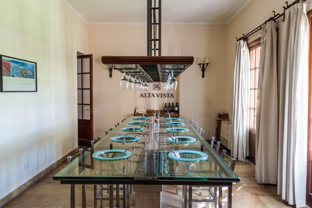 CHACRAS DE CORIA, ARGENTINA - AUG 1, 2015: Degustation room of winery Altavista in Chacras de Coria village, near Mendoza, Argentina