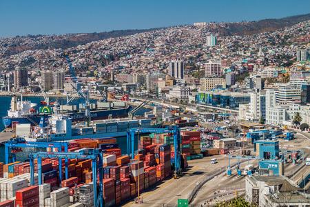 chilean: VALPARAISO, CHILE - MARCH 29: Cranes in a port of Valparaiso, Chile