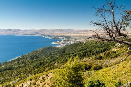 Aerial view of Nahuel Huapi lake near Bariloche, Argentina Stock Photo