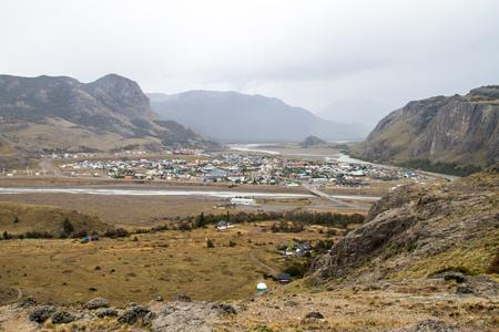 chalten: Aerial view of El Chalten village, Argentina Stock Photo