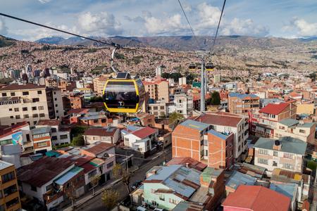 mi: LA PAZ, BOLIVIA - APRIL 28, 2015: Aerial view of La Paz with Teleferico (Cable car)