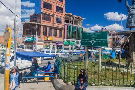 bolivian: EL ALTO, BOLIVIA - MAY 11, 2015: Street traffic in El Alto, Bolivia. Stock Photo