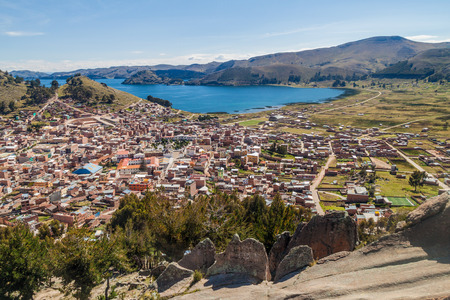 bolivian: Aerial view of Copacabana town on the coast of Titicaca lake, Bolivia Stock Photo