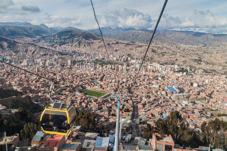 LA PAZ, BOLIVIA - APRIL 28, 2015: Aerial view of La Paz with Teleferico (Cable car)