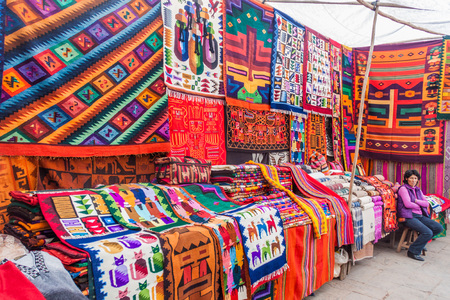 PISAC, PERU - MAY 22, 2015: Famous indigenous market in Pisac, Sacred Valley of Incas, Peru.
