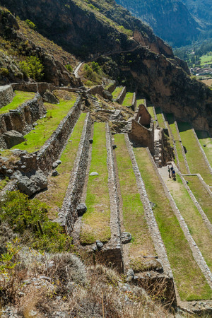 Agricultural terraces of Inca ruins of Ollantaytambo, Sacred Valley of Incas, Peru Stock Photo
