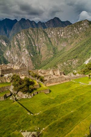 Main square and walls at Machu Picchu ruins, Peru Stock Photo