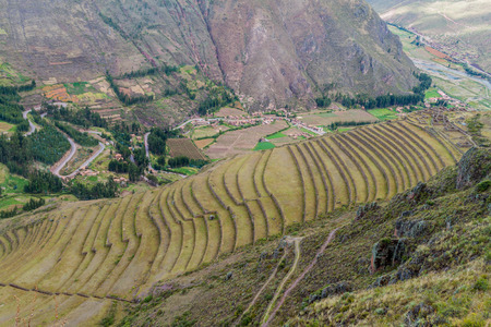 sacred valley: Inca agricultural terraces in Pisac, Sacred Valley, Peru Stock Photo