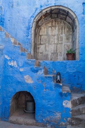 catholic nuns: Stairway in Santa Catalina monastery in Arequipa, Peru Stock Photo