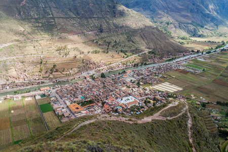 pisac: Aerial view of Sacred Valley of Incas and Pisac village, Peru Stock Photo