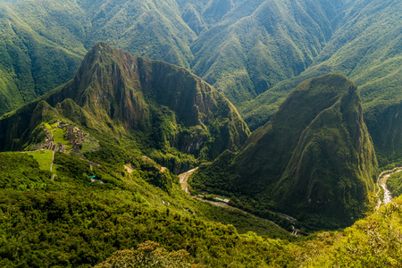Aerial view of Machu Picchu ruins and Urubamba river valley, Peru