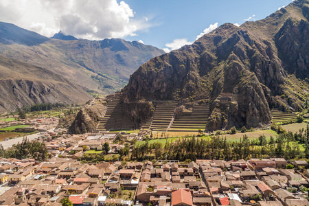 sacred valley: Aerial view of Ollantaytambo and Incas agricultural terraces, Sacred Valley of Incas, Peru Stock Photo