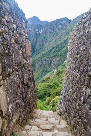 Preserved walls at Machu Picchu ruins, Peru