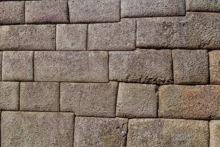 ペルー マチュピチュ遺跡で太陽の神殿の完璧なインカの石積みの詳細