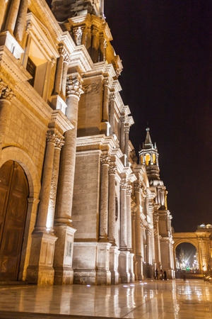 colonial church: Cathedral at Plaza de Armas square in Arequipa, Peru.
