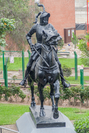 LIMA, PERU - JUNE 4, 2015: Statue of Francisco Pizarro in Lima, Peru