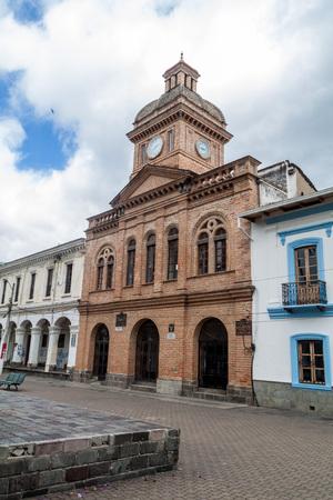 colonial church: Buildings in Parque Pedro Moncayo in Ibarra town, Ecuador