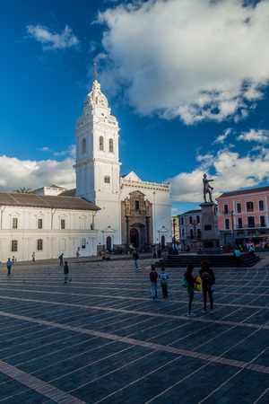 santo: QUITO, ECUADOR - JUNE 23, 2015: Church Santo Domingo on Plaza Santo Domingo square in old town of Quito, Ecuador
