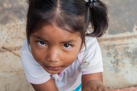 PANTOJA, PERU - JULY 12, 2015: Child living in small village Napo in amazonian jungle, Peru