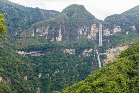 Catarata de Gocta, one of the highest waterfalls in the world (771 m in two cascades), northern Peru. Stock Photo