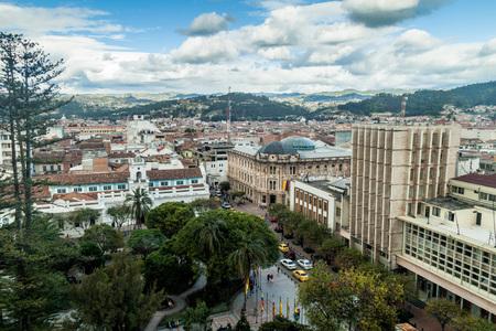 cuenca: Aerial view of Parque Calderon square in Cuenca, Ecuador