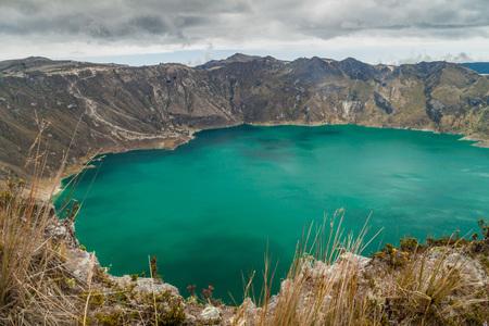 Laguna Quilotoa - volcanic crater lake in Ecuador