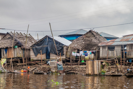 IQUITOS, PERU - JULY 18, 2015: View of floating shantytown in Belen neigbohood of Iquitos, Peru.